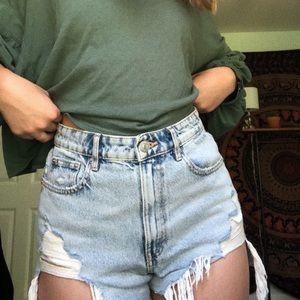 Zara High waisted light denim shorts